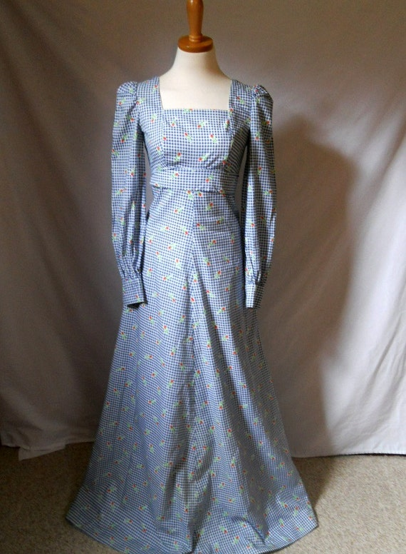 CLOSING SALE 1960's blue gingham and roses maxi dress SMALL hippie flower child home sewn