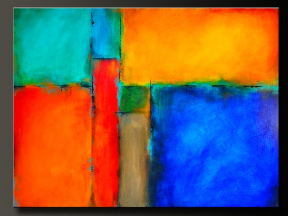 On Hold For Ivette Color Block 48 X 36 Abstract Acrylic