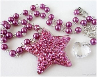 Magenta Glitter Star Necklace, Beaded Pearl Necklace, Silver Plated - Gyaru, Spank Kei