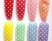 25 pcs -  Cute dot Satin Hair Clip COVERS - Mix rainbow - size 55mm