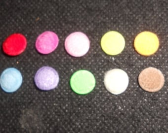 100 pcs - Mix color Felt Round Center Padded Appliques - size 9 mm