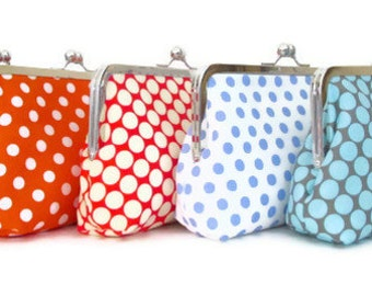 Red Polka Dot Clutch Purse -Monogrammed Bridesmaid Gift