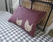 new exclusive hand printed plum rustic wren pillow