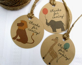 Zoo Animals Favor or Gift Tags in Kraft - Set of 12