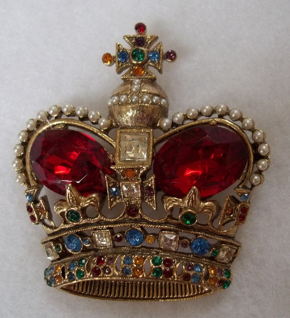 Biggest Best Most Amazing Crown Pin Brooch Ever, 3276