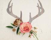 Antler Floral  - 8x10 art print