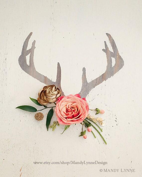 Floral Antler Tattoo: Antler Floral 8x10 Art Print
