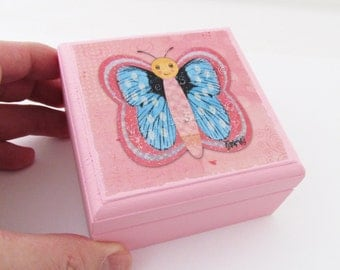 Butterfly Box Painted in Baby PINK - Iridescent detailed Butterfly Lidded Wooden Box - Small Jewelry Box