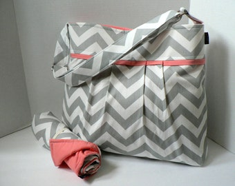 Monterey Bag Large Diaper Bag Set - In Grey Chevron and Salmon / Coral Pink - Adjustable Strap and Elastic Pockets