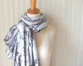 Winter Birch Fleece Scarf - Ultra Soft Charcoal Gray, Light Grey Autumn Fall Cowl, Winter Fashion - JANNYSGIRL