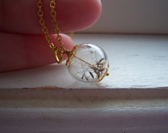 Dandelion Necklace - Dandelion Seed Necklace - Make A Wish - Bridesmaid Gifts - Free gift With Purchase