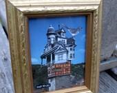 European Birdhouse, 3.5 x 4.5 Original Victorian Collage Art Framed