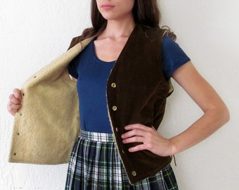 Vintage Faux SHEEPSKIN CORDUROY Vest with Rawhide Ties M