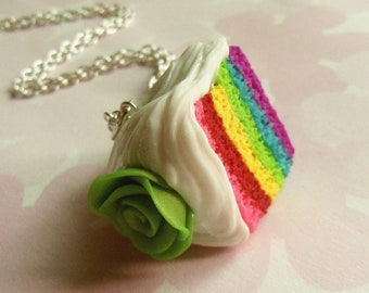polymer clay rainbow cake necklace