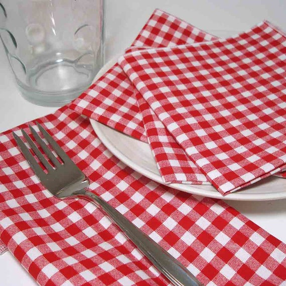 Dinner Napkins in Red and White Gingham checked washable all cotton set of 4