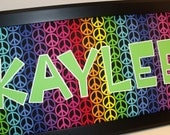 Girls Name Art - Rainbow Peace Signs - Personalized - 8x20, 11x14 or 10x20 Unframed Mat - You pick the font style and color