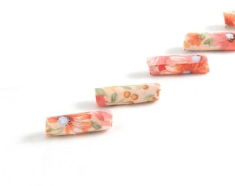 Fiber Beads Textile Beads Fabric Beads in Shades of Peach with Hints of Blue Green and Gold