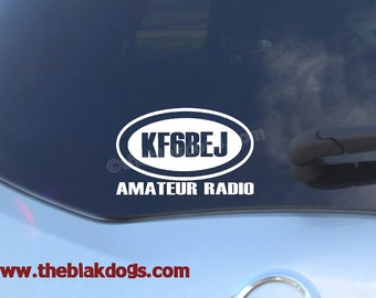 Ham Radio Call Sign Vinyl Sticker - personalized Car Decal
