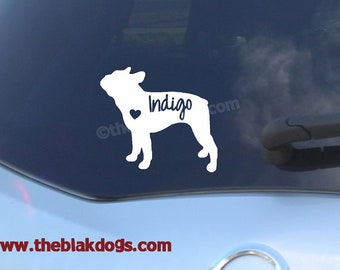 Boston Terrier Silhouette Vinyl Sticker Car Decal Personalized