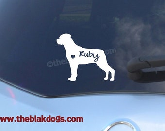 Rottweiler Silhouette Vinyl Sticker - personalized Car Decal