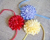 Baby Flower Headband Set - You Pick 3 - Mum Flower on Skinny Elastic in Red, Blue, Yellow, Orange, Fuchsia, Pink, White and Green