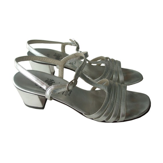 60s Silver Leather Strappy Sandals - Italian 7.5