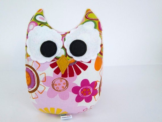 Plush Owl Mini Pillow Stuffed Minky Owl Toy Pink Orange Green Ready to Ship