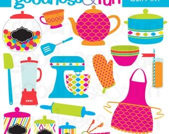 Buy 2, Get 1 FREE - Kitchen Fun Clipart - Digital Kitchen Clipart - Instant Download