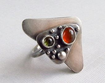sterling silver cocktail ring with Mexican fire opal and peridot