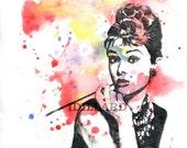 Audrey Hepburn Portrait Painting Print From Original Watercolor Painting Large Wall Art print 17 x 22 in. Pop Art Movie Poster Print
