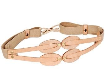 Fashion Belt, Stretch Belt, Elastic Belt, wide elastic belt, Waist Leather Belt - Beige / Powder / Natural Color belt- BOGO SALE