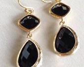 Little Black Earrings (handmade beaded earrings)