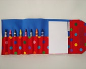 LITTLE ARTIST Crayon Tote in Fun Polka Dots on Red