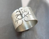 Autumn tree ring, rustic silver ring, wide band ring, metalwork jewelry