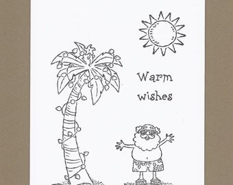 Sunny Seasons Greetings - Set of 4 Color Your Own Christmas Cards - Ask 4 Teacher Price - Southern Christmas Coloring Cards, Beach Christmas