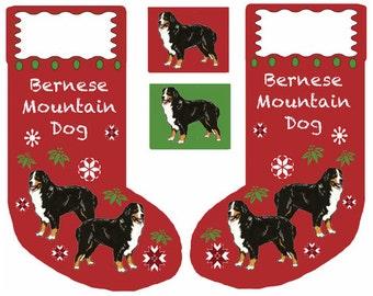 Bernese Mountain Dog Cut and Sew Christmas Stocking fabric