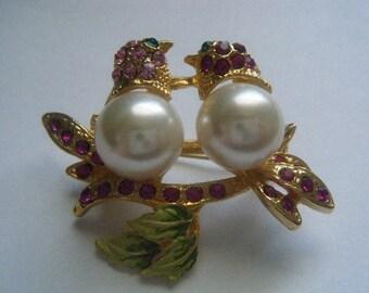 Two Sweet Tweets Brooch Birds Pink Rhinestones Faux Pearls