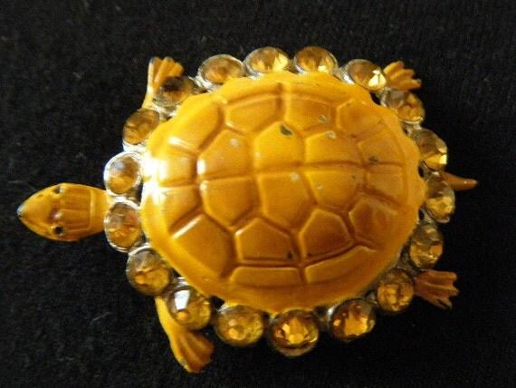 Yellow Turtle Brooch Rhinestone Enamel