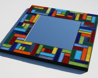 """SALE: Multicolor Mosaic Mirror - Stained Glass - Rainbow Mirror 14"""" x 14"""""""