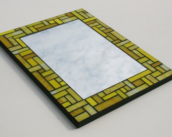 "Sunshine Yellow Stained Glass Mosaic Mirror with Bullseye and Uroboros Glass 11.75"" x 15.75"""