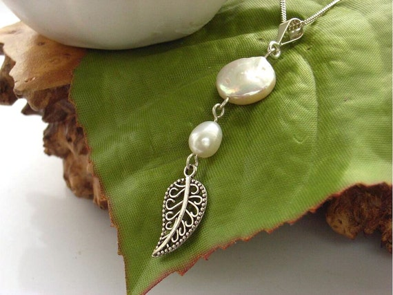 Necklace white coin pearl leaf charm sterling silver chain UK seller