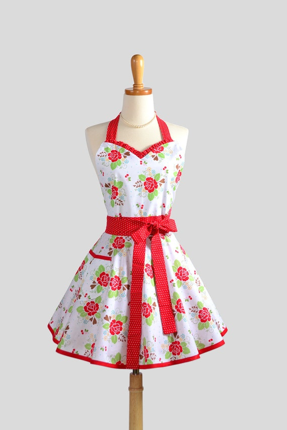 Sweetheart Retro Apron Cute Womens Apron In Red Roses And