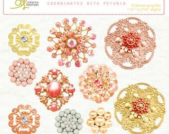 INSTANT DOWNLOAD digital vintage elements Petunia