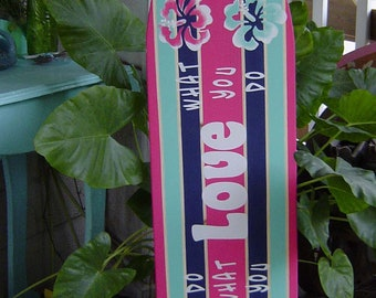 4FT SURFBOARD. Pink Turquoise Navy.Tropical Hawaiian wall art decor WaLL HaNGING. 150 Designs 3 Sizes. Matches PBK Bedding