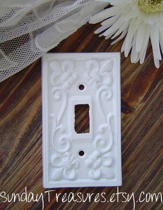 White Fleur De Lis metal Light switch Cover / Shabby Cottage / Paris Decor / Victorian / Pick Color / Wall Decor /