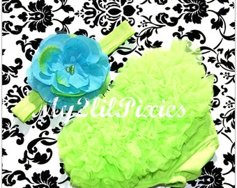 Baby BLOOMER and HEADBAND Set- Lime Green and Turqouise Chiffon Ruffle Bum Baby Bloomer baby girls headbands - Photo Prop- MY2LILPIXIES