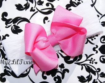 BLOW OUT SALE-Styling Boutique Bow with White Interchangeable Nylon Headband Soft and Stretchy  Infants Babies Toddlers Girls Photo prop