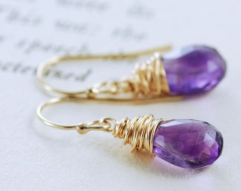 Amethyst Jewelry, February Birthstone Earrings, Purple Gemstone Dangle Earrings in 14k Gold Fill