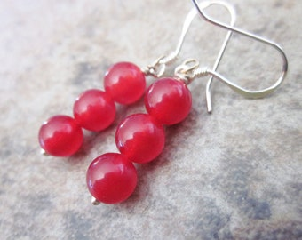 Bright Red Candy Jade Earrings, Gemstone Round Orb Trios, 925 Sterling Silver, Bridesmaid Earrings, Bright Cherry Red, Bridesmaid Gift