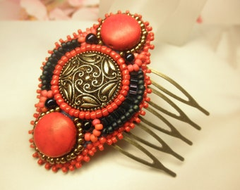 Imitated Red Coral Glass Beads Tiny Antique Bronze HAIR COMB